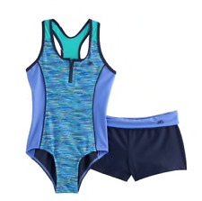 NEW GIRLS PLUS ONE PIECE SWIMSUIT WITH MATCHING SHORTS SIZE 20 1/2 20.5