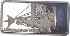 Rare Silver 1 Troy Oz. Leonardo Da Vinci Bar .999 Fine Silver *154