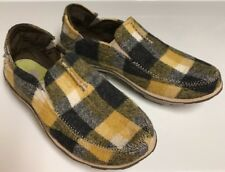 Cushe Slip On Surf Slipper Fabric Soft  Women's 6 Plaid Yellow Gray Plaid Unworn