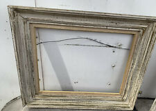 Vtg Wood Green Off White Shabby Chic Picture 14� X 18� Frame Cloth Insert