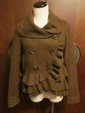 ELEVENSES  Anthropologie   Dark Olive Green Boiled Wool Ruffle Jacket 6 NWT!