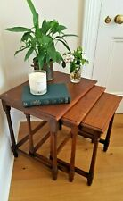 Vintage Nest of 3 Traditional Solid Oak Occasional Side Tables with Turned Legs