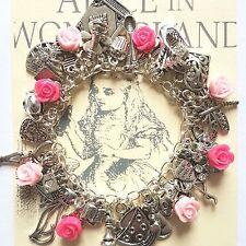 Kitsch Alice nel paese delle meraviglie Pink Rose LIBRO CHIAVE CUORE Tè Argento Charms Braccialetto