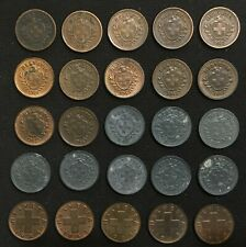 Lot of 25 Switzerland 1 rappen 1915-1949 - copper & zinc - 3 types