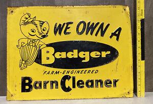 Vintage Badger Barn Cleaner Embossed Metal Sign Farm Cattle Stalls Gas Oil