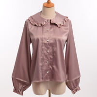 Girls Sweet Lolita Peter Pant Ruffle Collar Long Sleeve Blouse Shirt Tops 2Color