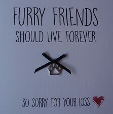 Sympathy, Sorry for your loss, dog, condolence, Furry Friend card with charm