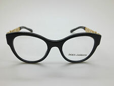 NEW Dolce & Gabbana D&G DG 3184 501 Black/Gold 50mm Eyeglasses w/ Box