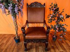 Restaurierter Schreibtisch-Stuhl Nussbaum neuer Lederbezug antik