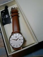 AIBI Fashion Woman's Watch Brown Leather Band analog date