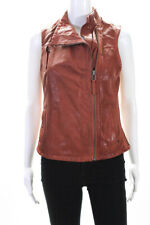 AllSaints Co Ltd Spitalfields Womens Full Zip Leather Vest Jacket Brown Size 2