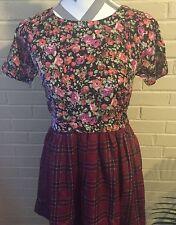 Dizzire Babydoll Dress Floral Plaid Juniors Small Mini Dress Skater US SELLER