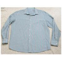 XL John Henry Long Sleeve Blue White Cotton Polyester Mans Dress Shirt Button Up