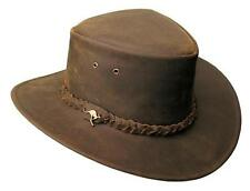 "LARGE LEATHER HAT KAKADU TRADERS ""NULLARBOR"" #4H57 50+UPF BROWN NWT"