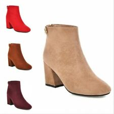 Women's Suede Fabric Chunky Mid Heel Round Toe Zip Up Chelsea Ankle Boots 34-46