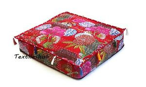 """20"""" Red Square Pet Beds Floral Home Décor Kantha Floor Indian Cushion Covers US"""