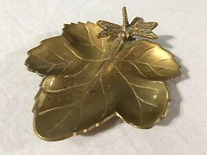 Bronzed Brass Maple Leaf Candy Dish Trinket Bowl Mid Century M