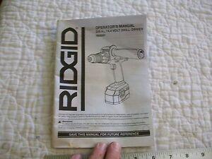 "Ridgid Operators Manual 3/8"" 14.4 Volt Drill-Driver R83001 English/French Spanis"
