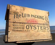 Rare LEIB PACKING Oyster Crate Box BALTIMORE MD 2-Sided Art Paper Label c 1931