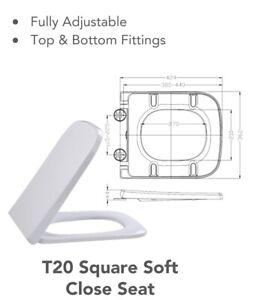 universal square toilet seat soft close fits rak series 600 replacement seat