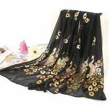 Women Peacock Flower Embroidered Lace Scarf Long Soft Wrap Shawl Stole Pashmina
