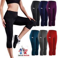 HOT Womens Gym Yoga Workout Fitness Compression Capri Leggings Pants Pockets X39