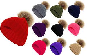 Men Women Chunky Knit Fur Cap Winter Warm Unisex Beanie Pompom Bobble Casual Hat