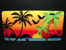 PALM TREES OCEAN SUNSET METAL NOVELTY LICENSE PLATE PALM TREES TROPICAL BEACH