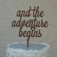 and the adventure begins wedding cake topper, engagment cake decor, rustic wood