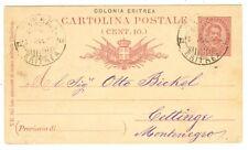 COLONIE 1895 ASMARA ERITREA CARTOLINA POSTALE 10 C. PER CETTIGNE MONTENEGRO
