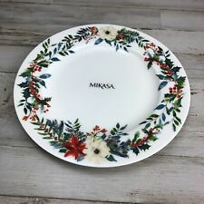 """New Mikasa Holly Wreath Floral Bone China 9"""" Salad Plate Replacement Dish"""
