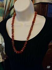 "Vtg Antique RED AGATE w/ Shape Carnelian Gemstone Necklace Slice Beads Brass 25"""