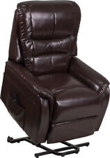 Contemporary Remote Powered Lift Recliner in Brown Leathersoft with Side Pocket