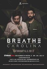 BREATHE CAROLINA 2017 HOUSTON CONCERT TOUR POSTER - Electropop, EDM Music
