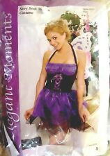 Adult Purple Fairy Costume Sz S Halter Dress w/Wand, antennae headband, necklace