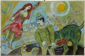 MARC CHAGALL. Surrealism pastel painting of a circus. Signed. Not a print.