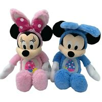 Lot 2- Mickey & Minnie Easter Egg Bunny Ears Blue Pink Plush Disney Collectible