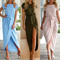 UK Women Summer Short Sleeve Lace-up Wrap Belted Cocktail Party Long Maxi Dress