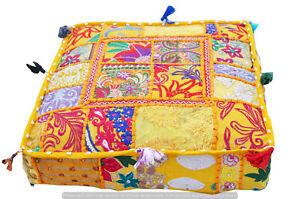 "Khambadiya Patchwork Stool Cotton Pillow Cover Indian 22"" Ottoman Floor Pouf Art"