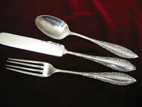 SAVOY 1892 Silverplate Youth Set  Rogers Flatware Fork Spoon Knife Child Size
