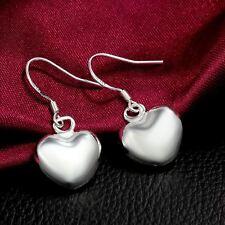 New Women Fashion 925 Sterling Silver Plated Small Heart Dangle Hook Earrings