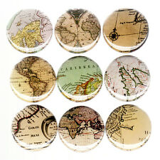 VINTAGE MAPS pinback button set badges treasure world Victorian pirate