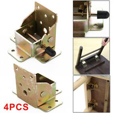 4Pcs Iron Folding Table Chair Leg Brackets Hinges Self Lock 75x60x55mm UK