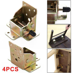 4Pcs Iron Folding Table Chair Leg Brackets Hinges Self Lock 75x60x55mm UK