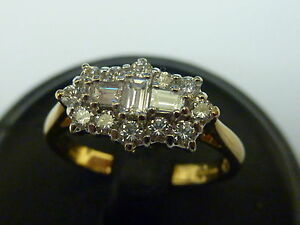 Ladies Stunning 18ct Gold 75pt Diamond Boat Shaped Fancy Cluster Ring - Size O
