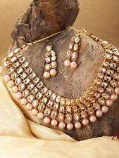 Indian Fali Statement Bridal Gold Necklace Earrings Kundan Meenakari Latest Set