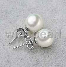 Boutique 10mm Round White South Sea Shell Pearl 925 Silver Stud Earring