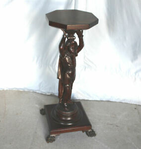 Antique Carved Mahogany Figural Pedestal or Plant Stand