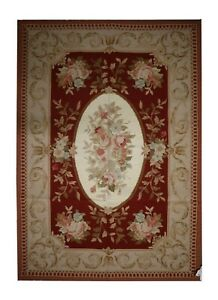 Handmade Carpet Red Wool Needlepoint Rug Traditional Floral Area Rug 122x183cm