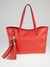 NEW GUCCI  LEATHER BAMBOO TASSEL Tote Bag  PURSE ORANGE RETAILS $1,400